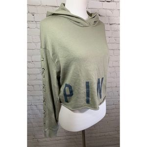 PINK VS Green Cropped Hoodie w Lace Up Sleeves
